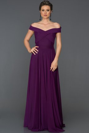 Long Purple Evening Dress ABU008