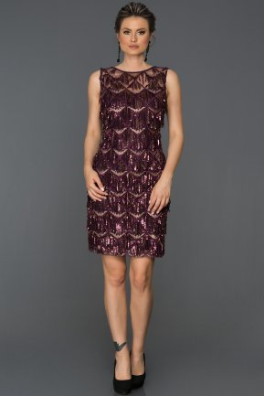 Short Plum Evening Dress AB98832