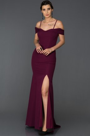 Long Dark Purple Mermaid Evening Dress AB1009