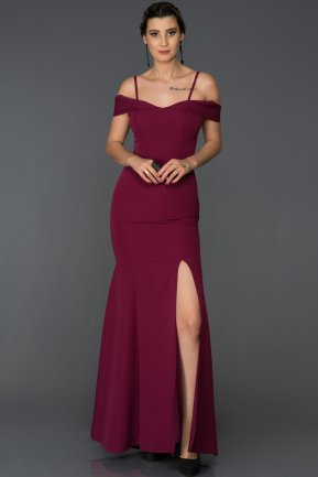 Long Plum Mermaid Evening Dress AB1009