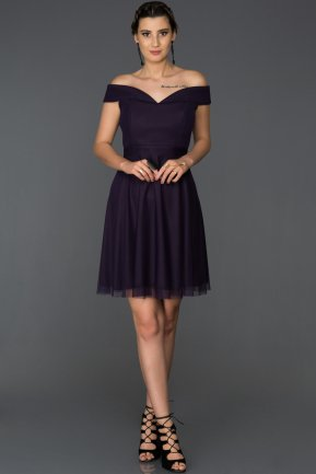Short Dark Purple Invitation Dress ABK015