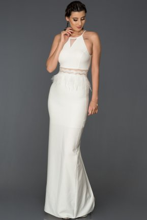 Long White Mermaid Evening Dress AB3432