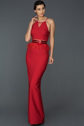 Long Red Mermaid Evening Dress AB3432