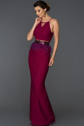 Long Plum Mermaid Evening Dress AB3432