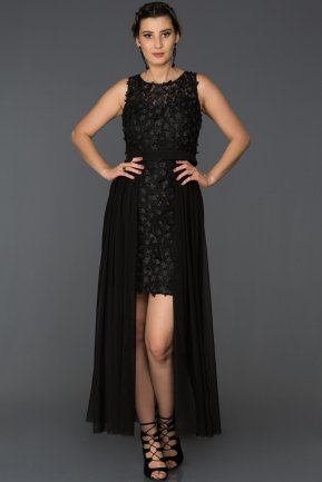 Front Short Back Long Black Prom Gown AB5067