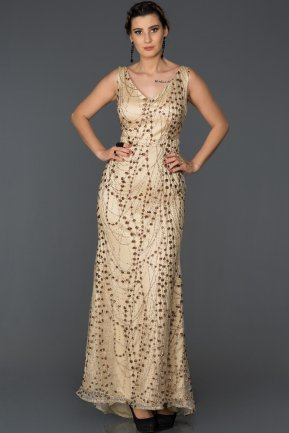 Long Gold Engagement Dress AB7082