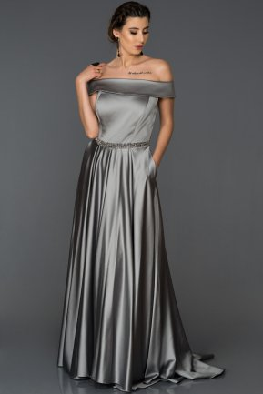 Long Grey Engagement Dress AB7110