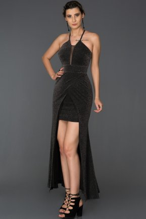 Front Short Back Long Black Prom Gown AB7123