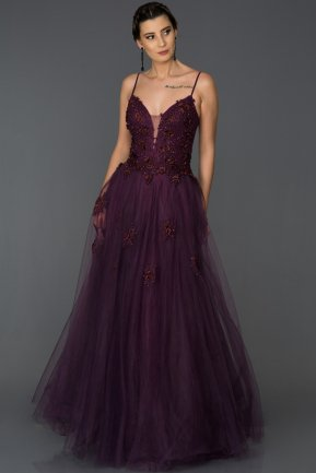 Long Plum Engagement Dress ABU053