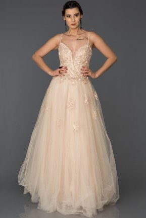 Long Salmon Engagement Dress AB4649