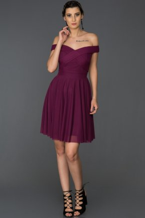Short Plum Invitation Dress AB8063