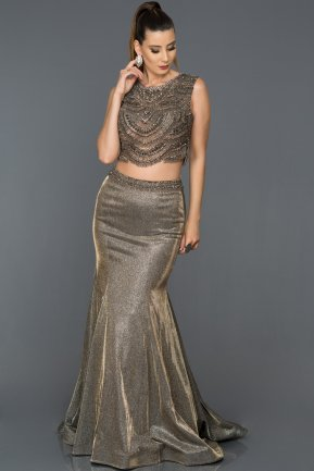 Long Anthracite Engagement Dress ABU229