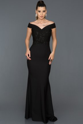 Long Black Mermaid Prom Dress AB3456