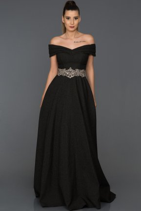 Long Black Engagement Dress AB7099