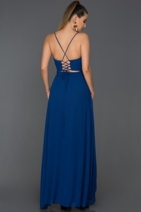 Long Sax Blue Prom Gown ABU119