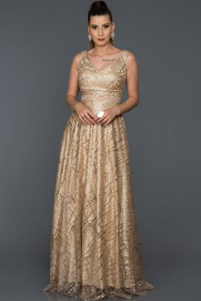 Long Gold Engagement Dress AB7138