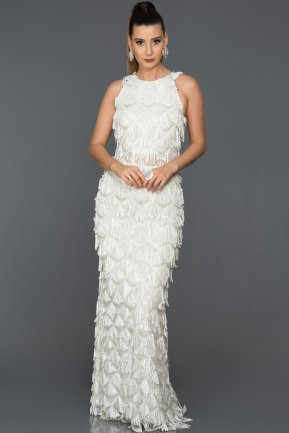 Long White Evening Dress AB7497