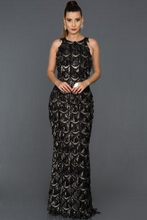 Long Black-Silver Evening Dress AB7497