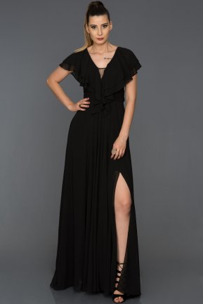 Long Black Engagement Dress AB4519