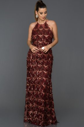 Long Burgundy Engagement Dress AB7585