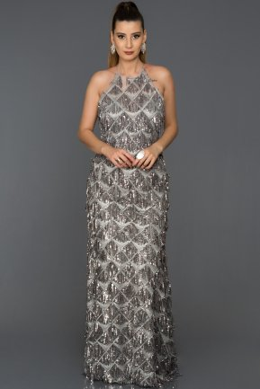 Long Silver Engagement Dress AB7585