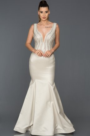 Long White Mermaid Prom Dress AB8049