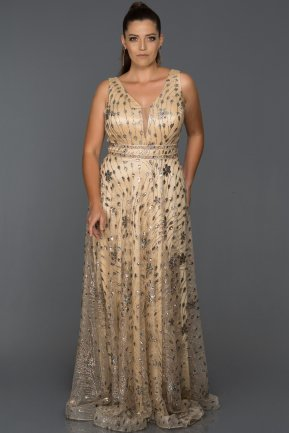 Long Gold Oversized Evening Dress ABU116