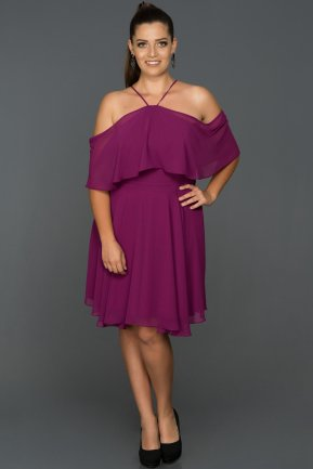 Short Plum Plus Size Evening Dress AB4341