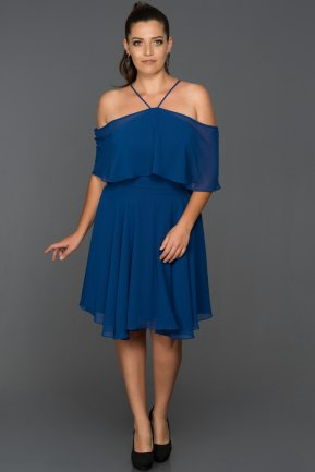 Short Sax Blue Plus Size Evening Dress AB4341