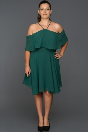 Short Emerald Green Plus Size Evening Dress AB4341