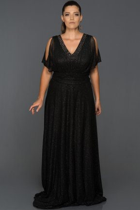 Long Black Plus Size Evening Dress ABU090