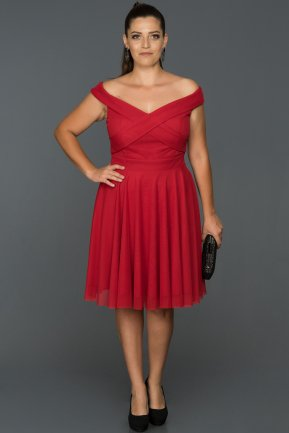 Short Red Plus Size Evening Dress AB8063