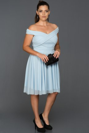 Short Blue Plus Size Evening Dress AB8063