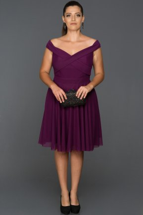 Short Purple Plus Size Evening Dress AB8063