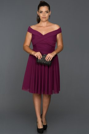 Short Plum Plus Size Evening Dress AB8063