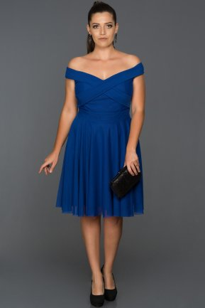 Short Sax Blue Plus Size Evening Dress AB8063
