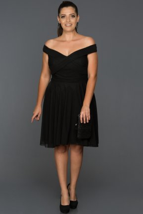 Short Black Plus Size Evening Dress ABK008