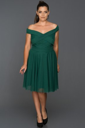 Short Emerald Green Plus Size Evening Dress AB8063