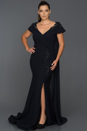 Tail Navy Blue Plus Size Evening Dress AB8432