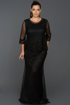 Long Black Plus Size Evening Dress ABU209