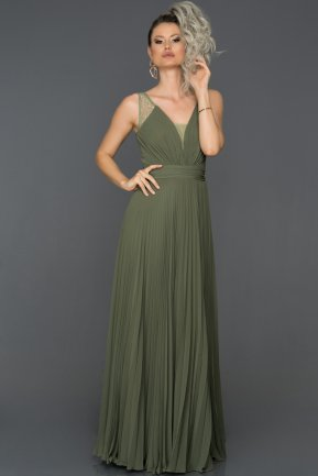 Long Olive Drab Engagement Dress ABU117