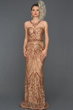 Long Copper Evening Dress AB7025