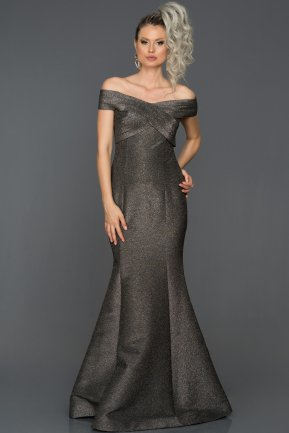 Long Black-Silver Mermaid Evening Dress ABU1360