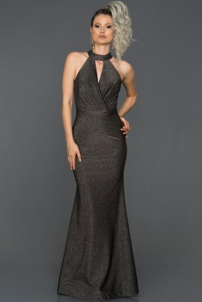 Long Black-Silver Prom Gown ABU071