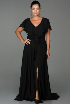 Long Black Plus Size Evening Dress ABU032