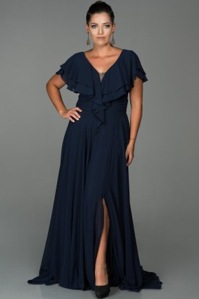 Long Navy Blue Plus Size Evening Dress ABU032