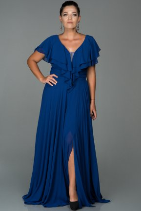 Long Sax Blue Plus Size Evening Dress ABU032