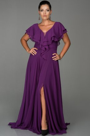 Long Plum Plus Size Evening Dress ABU032