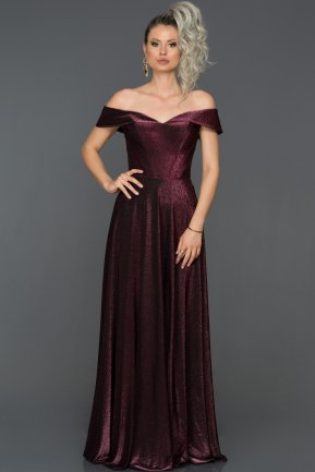 Long Plum Engagement Dress AB7571