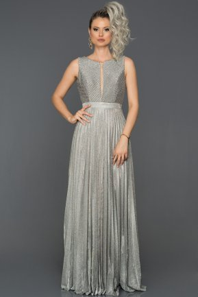 Long Silver Engagement Dress ABU179